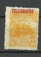 NICARAGUA 1892 Telegraph Stamp Columbus Telegrafenmarke Kolumbus Sichtet Land (*) - Nicaragua
