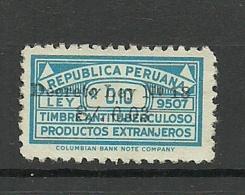 PERU Antituberculosis Against Tuberculosis Charity Overprint - Perú
