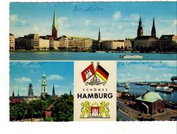 Mulitiview-  Hamburg ( Die Alster, Der Michel, Elbtunneleingang)