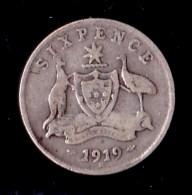 Australia 1919 Sixpence VG - Moneda Pre-decimale (1910-1965)