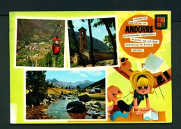 ANDORRA  -  Multi View  Used Postcard As Scans (corner Tape Damage) - Andorra