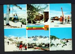 ANDORRA  -  Multi View  Skiing  Used Postcard As Scans - Andorra