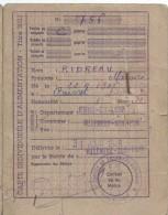 Cartes Individuelles D'Alimentation /Timbres Divers/Ridreau/VILLEMEUX Sur Eure/Eure & Loir/1949       AEC29 - Other Collections