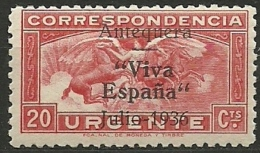 ESPAÑA GUERRA CIVIL 1936/39 Antequera Pegaso 20 Cts.** MNH Nº 17 - Emissions Nationalistes