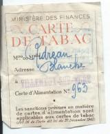 Carte De Tabac/Ministére Des Finances/ Ridreau/Villemeux Sur Eure / Eure & Loir /vers 1942-1946    AEC30 - Tabac (objets Liés)