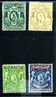 OUGANDA  Protectorat 1898 - 1902  ( 4 Tp - Reine Victoria ) Neufs (0) - Uganda (...-1962)