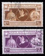 REGNO 1933 Anno Santo Posta Aerea Serie Compl. 2v. Annullata Usata Viaggiata - Correo Aéreo