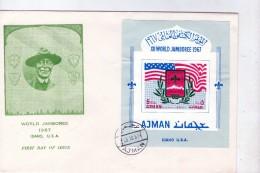 Ajman 1967-Baden Powel, Scoutisme-MI B15B SUR FDC--NON Dentelé - Scouting