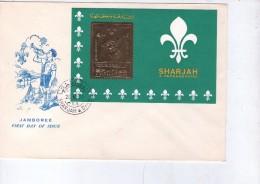 Sharjah 1971-Baden Powel- Scoutisme-feuillet OR Du Timbre 939 Sur FDC - Scouting