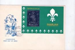Sharjah 1971-Baden Powel- Scoutisme-feuillet Argent Du Timbre 940 Sur FDC - Scouting