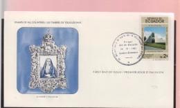 O) 1981 ECUADOR, CHURCH - TEMPLE, ARCHITECTURE, ANNIVERSARY OF THE MIRACLE OF DOLOROSA 1906, FDC XF - Peru