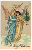 A Merry Christmas - Pair Of Angles, Star, Gilded - Giesen Bros - Unused C1909 - Angels