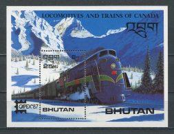 BHOUTAN 1987 Bloc  N° 131 **  Neuf = MNH Superbe  Cote 7,50 € Trains Capex 87 Toronto Canadian Locomotive Transports - Bhutan