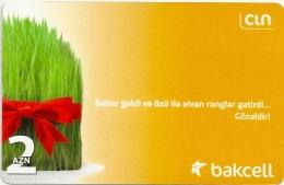Azerbaijan - Bakcell - Grass With Ribbon, Yellow - GSM Refill, 2Manat, Exp. 30.09.2012, Used
