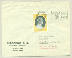Argentina - 1959 - 1P Pope Pius XII FDC On Cover To Waterloo, Iowa / USA - Argentinië