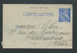 Carte Lettre Entier Type Muller 1 Franc Bleu  Voyagé En 1927 - Yvert SPE - CL1   Pma5021 - Postal Stamped Stationery