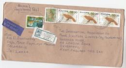 1991 REGISTERED Air Mail SRi LANKA COVER Stamps BIRDS FISH  To GB Airmail Label Bird - Sri Lanka (Ceylon) (1948-...)