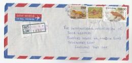 1991 REGISTERED Air Mail SRi LANKA COVER Stamps BIRD Birds FISH 'PALM CAT'   To GB Birds - Sri Lanka (Ceylon) (1948-...)