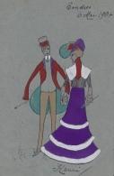 Illustrateur Carte Aquarelle - Couple D'élégants - Illustrators & Photographers