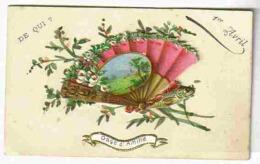 1899 Rare Carte En Relief Eventail Mobile Et Poisson D'Avril - Old Paper