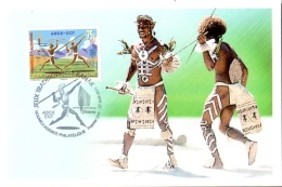 Carte PJ Jeux Traditionnels Kanak - Agence De Développement De La Culture Kanak - Centre Culturel Tjibaou - Nouméa 2011 - Cartes-maximum