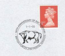 2005 GB Stamps COVER With EVENT Pmk 50th Anniv RAF MARHAM  Illus BULL British Forces Cattle - 1952-.... (Elizabeth II)