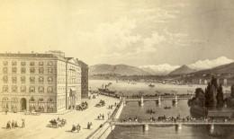 Suisse Geneve Hotel Des Bergues Ancienne CDV Photo D'un Tableau 1865 - Old (before 1900)