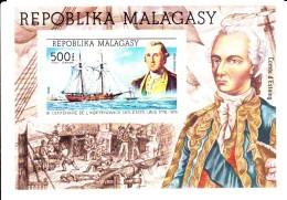 Madagascar MNH Scott #C140 Souvenir Sheet 500fr George Washington, 'Hanna' - American Bicentennial - Madagascar (1960-...)