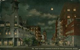 US SPOKANE / Post Street Looking North By Night / CARTE COULEUR GLACEE - Spokane