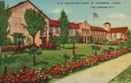 USA SAINT PETERSBURGH /  Senior High School, The Sunshine City / CARTE COULEUR TOILEE - St Petersburg