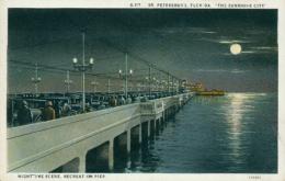 "USA SAINT PETERSBURGH / ""The Sunshine City"", Nighttime Scene, Recreation Pier / CARTE COULEUR - St Petersburg"