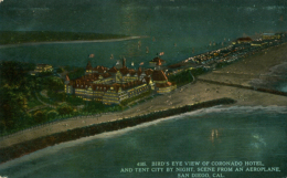 USA SAN DIEGO / Bird's Eye View Of Coronado Hotel And Ten By City By Night / CARTE COULEUR GLACEE - San Diego