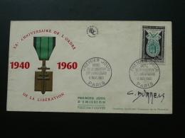 FDC Ordre De La Libération Signée Du Graveur Durrens - Guerre Mondiale (Seconde)