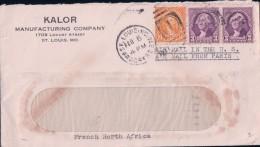 USA Lettre Par Avion, Kalor St Louis - Tunis Via Paris (16.2.37) - Covers & Documents