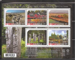 CANADA 2014, #2739, UNESCO World Heritage Sites  3USA  Stamps & 2 International Stamps  SS MNH - Blocs-feuillets