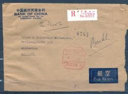 1966 , CHINA / CHINE , SOBRE CERTIFICADO CIRCULADO ENTRE TIENTSIN Y AMSTERDAM , BANK OF CHINA , CORREO AÉREO - 1949 - ... People's Republic