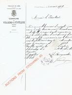 Lettre De COMMUNE DE VILLERS L'EVEQUE De 1939 Au Directeur De La Sucrerie D'Oreye Concernant La Redevance à Payer - Sin Clasificación