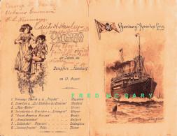 1904 Hamburg-Amerika Linie T.S.S. Hamburg Menu, Music Program & Willy Stöwer Art - Boats