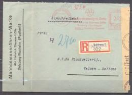 1942 , ALEMANIA , CERTIFICADO  DUISBURG - VELSEN , FRANQUEO MECÁNICO , BANDA Y MARCAS DE CENSURA - Cartas