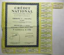 1962 Crédit National Emprunt 3% - Demi-obligation Au Porteur De Cinquante Nouveaux Francs - Banque & Assurance