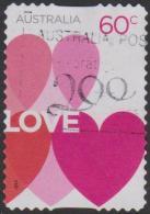 AUSTRALIA - DIE-CUT- USED 2014 60c Romance - Pink Hearts - 2010-... Elizabeth II