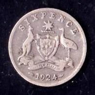 Australia 1924 Sixpence VG - Moneda Pre-decimale (1910-1965)