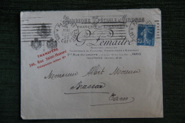 Enveloppe Timbrée  Publicitaire, PARIS, Fabrique Spéciale D´Ordres, LEMAITRE, 346 Rue Saint Honoré - Francia