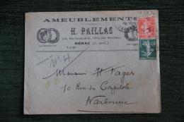 Enveloppe Timbrée  Publicitaire, NERAC, H.PAILLAS, Ameublements, 9 Et 11 Rue Fontinelle, Avec Lettre. - Francia