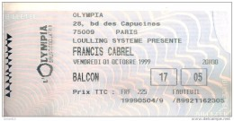 Ticket De Concert Francis CABREL à L'Olympia Balcon Di 01/10/1999 - Concert Tickets