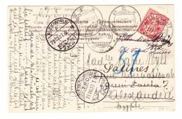 Schweiz WZ 23.8.1907 Ambulant AK Nach Alexandria Ägypten Zurück Nach Bex VD Mit AK Und Transit Stempel - 1882-1906 Armoiries, Helvetia Debout & UPU