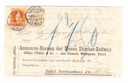 Schweiz WZ 4.8.1882 Zürich 2Rp Wertiffer (Weisses Papier) #53 Mit Stehende Helvetia #66A Auf NN-Streifband - 1882-1906 Armoiries, Helvetia Debout & UPU
