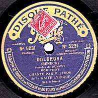 78 Trs - 25 Cm - état B - DISQUE SAPHIR - JYSOR - DOLOROSA - On était Deux Qui S´aimaient Dien - 78 Rpm - Schellackplatten