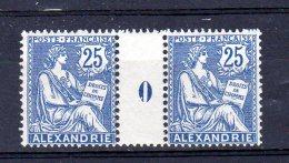Alexandrie_ Millésimes 25c Mouchon (1910 )