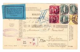 Schweiz Wertziffer  21.5.1886 Chaux De Fonds 10Rp(2) 15Rp WZ 25Rp Stehende (3) Paketkarte Nach Pforzheim - 1882-1906 Armoiries, Helvetia Debout & UPU